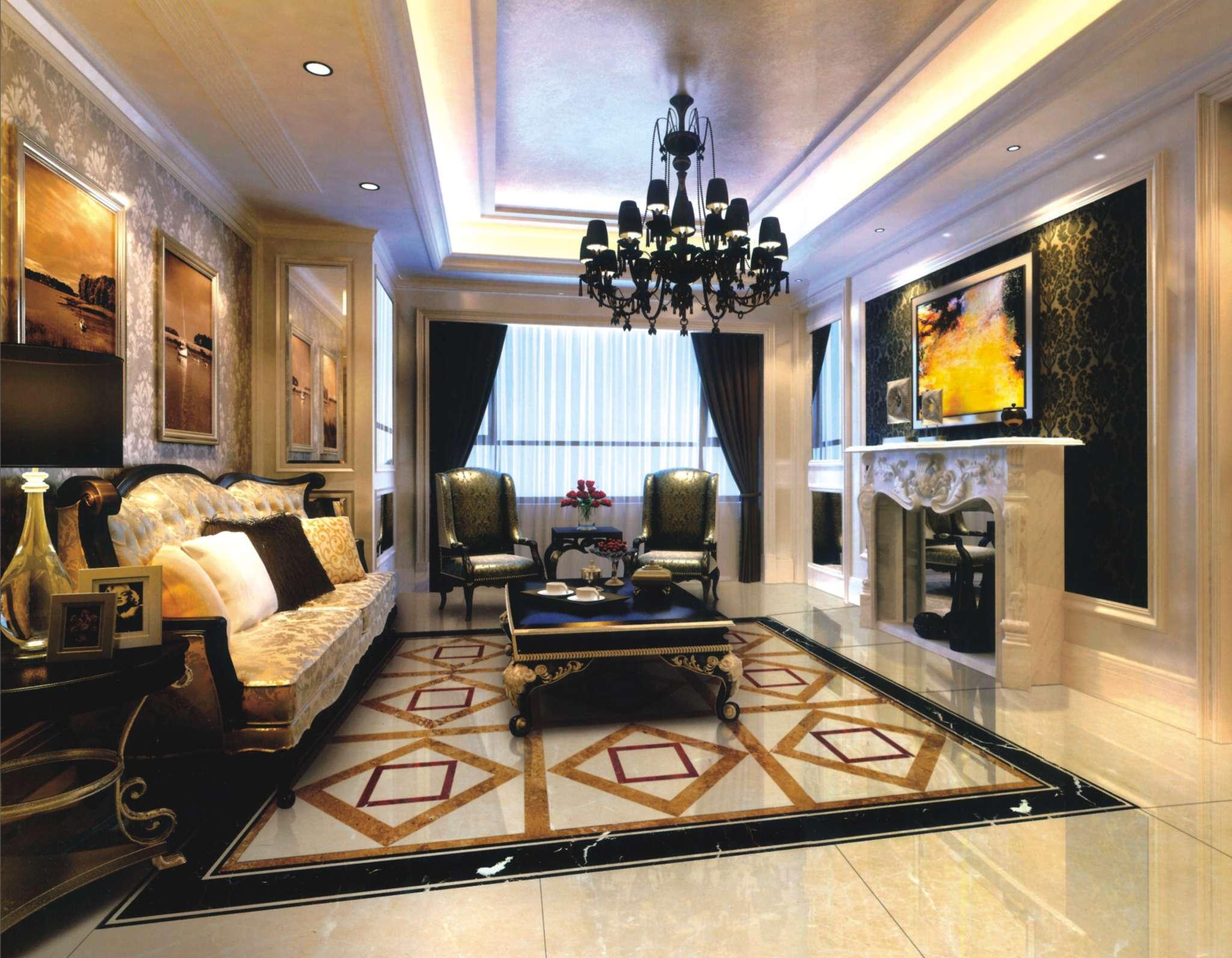 欧式风格客厅地面拼花装修效果图 欧式风格边几图片